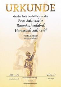 Urkunde-Erste-Salzwedeler-Baumkuchenfabrik-Hennig-Preis-Mittelstand